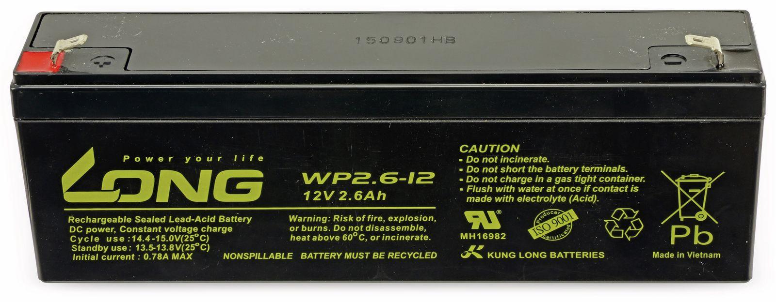 Blei Akkumulator KUNG LONG WP2.6 12, 12 V 2,6 Ah, zyklenfest
