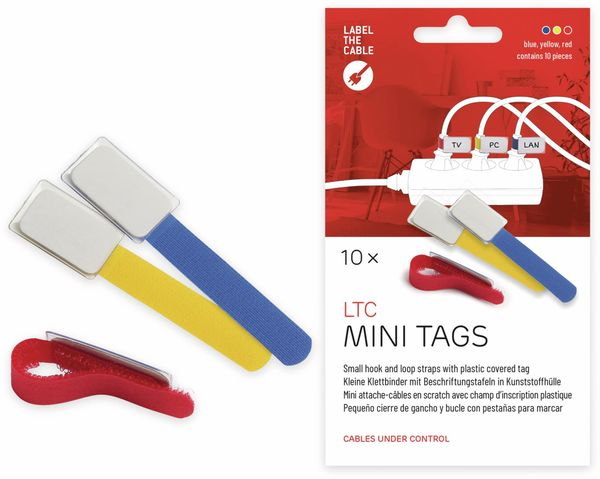 Klett-Kabelbinder LTC MINI, verschiedene Farben, 10 Stück