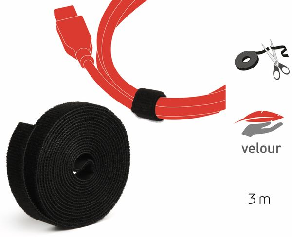 Klett-Rolle LABEL THE CABLE Roll Strap, 3 m, 16 mm, schwarz - Produktbild 2