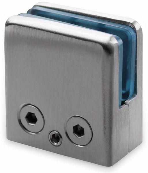 Glashalter, Edelstahl, 45x45 mm, 8 mm, flach