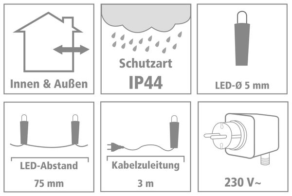 LED-Lichterkette, 320 LEDs, warmweiß, 230V~, IP44, Innen/Außen - Produktbild 4