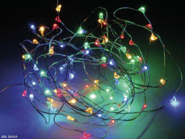 LED-Lichterkette, Silberdraht, 100 LEDs, bunt, Batteriebetrieb