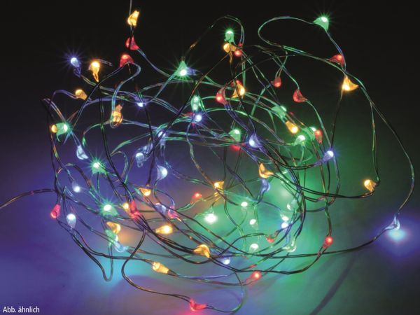 LED-Party Lichterkette, Silberdraht, 100 LEDs, bunt, Batteriebetrieb