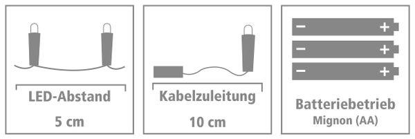 LED-Lichterkette, Silberdraht, 100 LEDs, bunt, Batteriebetrieb - Produktbild 4