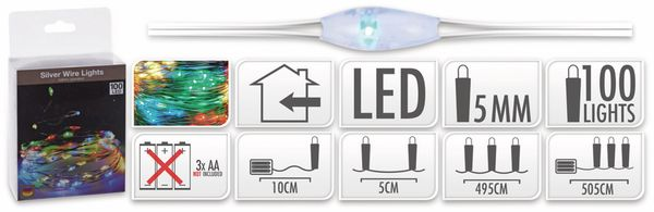 LED-Lichterkette, Silberdraht, 100 LEDs, bunt, Batteriebetrieb - Produktbild 5