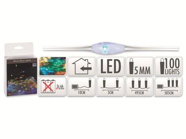 LED-Party Lichterkette, Silberdraht, 100 LEDs, bunt, Batteriebetrieb - Produktbild 5