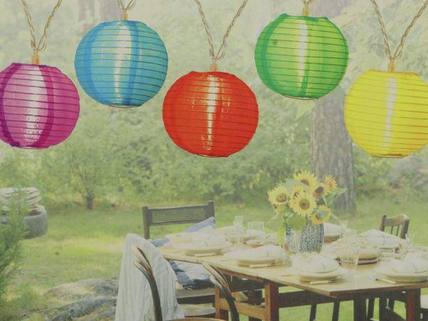 LED-Sommerlichterkette, 1,2W, Lampions, bunt - Produktbild 2