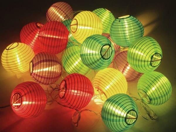 LED-Sommerlichterkette, 1,2W, Lampions, bunt - Produktbild 3