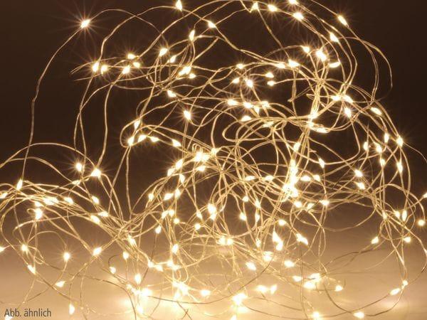 LED-Lichterkette, Silberdraht, 40 LEDs, warmweiß, Batteriebetrieb, Timer