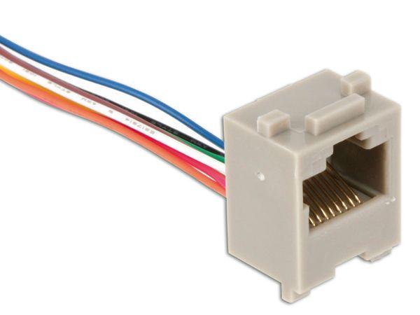 Modular-Einbaubuchse mit Anschlusslitzen, 8P8C