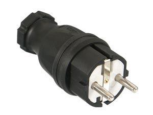 Gummi-Schutzkontaktstecker PCE, schwarz, IP44 - Produktbild 1