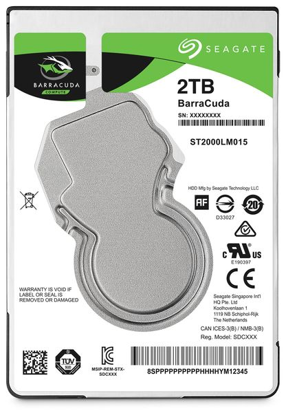 "SATA-HDD SEAGATE Barracuda ST2000LM015, 2,5"", 2TB, 5400RPM, 128MB"