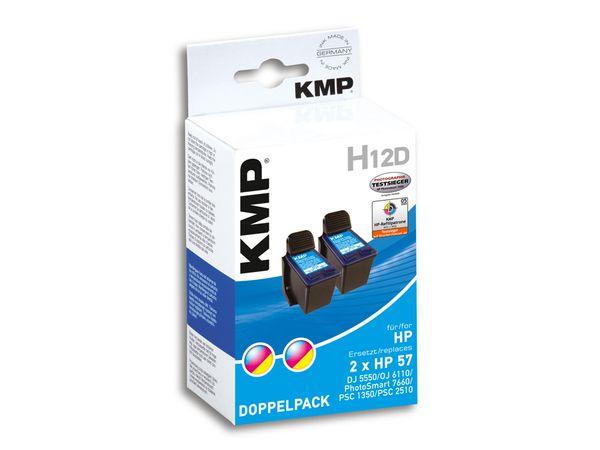Tintenpatronen-Set KMP, kompatibel für 2x HP 56 (C6656AE), schwarz