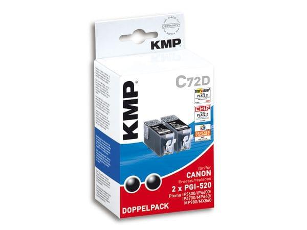 Tintenpatronen-Set KMP, kompatibel für Canon 2x PGI-520, 2x schwarz