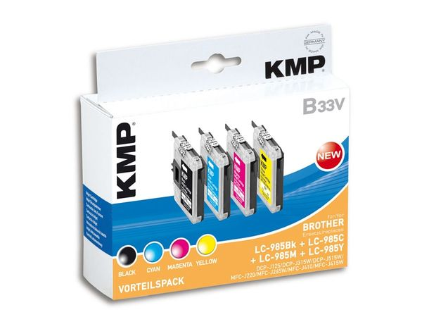 Tintenpatronen-Set KMP, kompatibel für Brother LC-985BK/C/M/Y