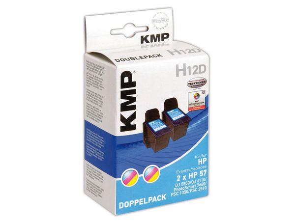 Tintenpatrone KMP, kompatibel für 2x HP 57 (C6657AE), 3-Color, 3-Color
