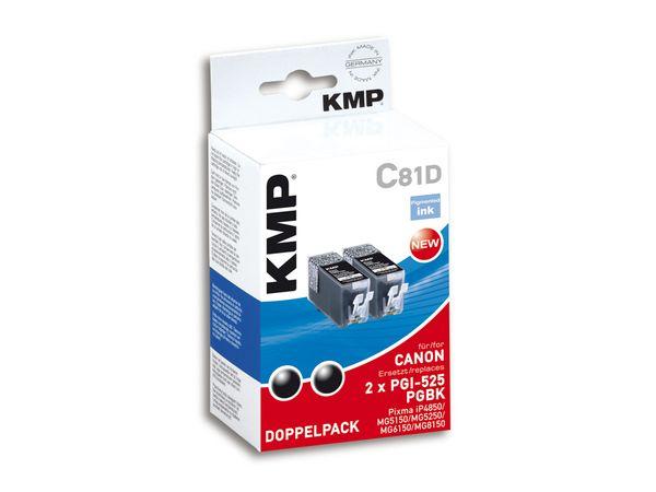 Tintenpatronen-Set KMP, kompatibel für Canon 2x PGI-525PGBK, 2x schwarz