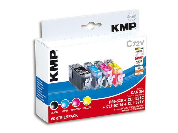 Tintenpatronen-Set KMP, kompatibel für Canon PGI-520/CLI-521C/M/Y