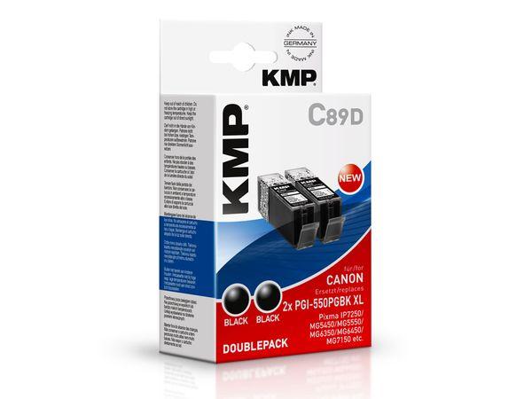 Tintenpatrone KMP, kompatibel für Canon 2x PGI-550PGBK XL, 2x schwarz