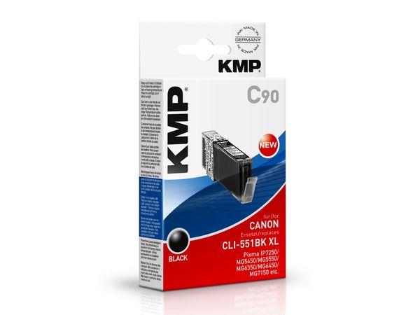 Tintenpatrone KMP, kompatibel für Canon CLI-551BK XL, schwarz