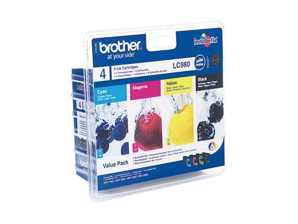 Tinten-Set Brother LC-980 (LC980VALBPDR), schwarz + farbig