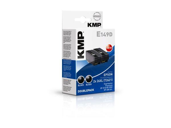 Tintenpatronen-Set KMP, kompatibel für Epson 26XL (2X T2621), schwarz