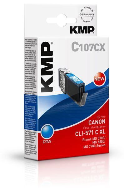 Tintenpatrone KMP C107CX, kompatibel für CLI571C XL, cyan
