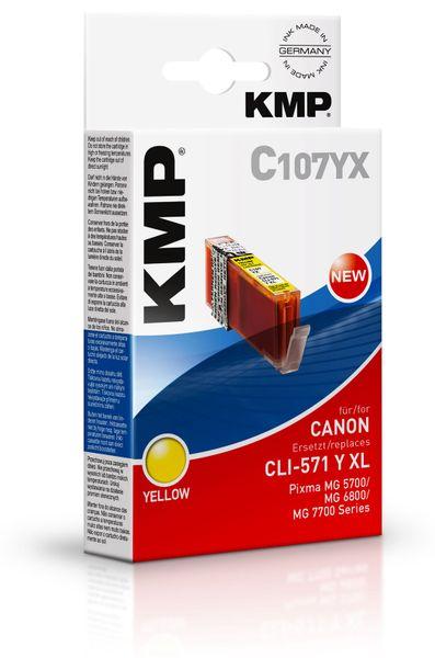 Tintenpatrone KMP C107YX, kompatibel für CLI571Y XL, gelb