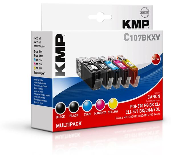 Tintenpatronen-Set KMP C107BKXV, komp. f. PGI-570PBK XL, CLI571 BK/C/M/Y/GY
