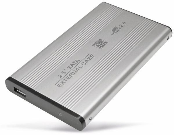 """6,35 cm (2,5"""") Festplatten-Gehäuse, USB 2.0 zu SATA, silber"""