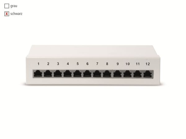 CAT.6a Patchpanel RED4POWER R4-N111S, 12-fach, schwarz - Produktbild 3
