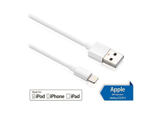 USB-Daten/Ladekabel DELEYCON MK-MK399 für Apple, 2 m, weiß
