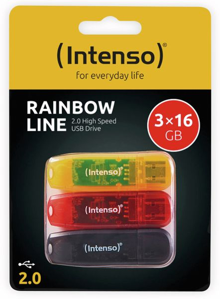 USB 2.0 Stick INTENSO Rainbow Line, 16 GB, 3er Pack - Produktbild 3